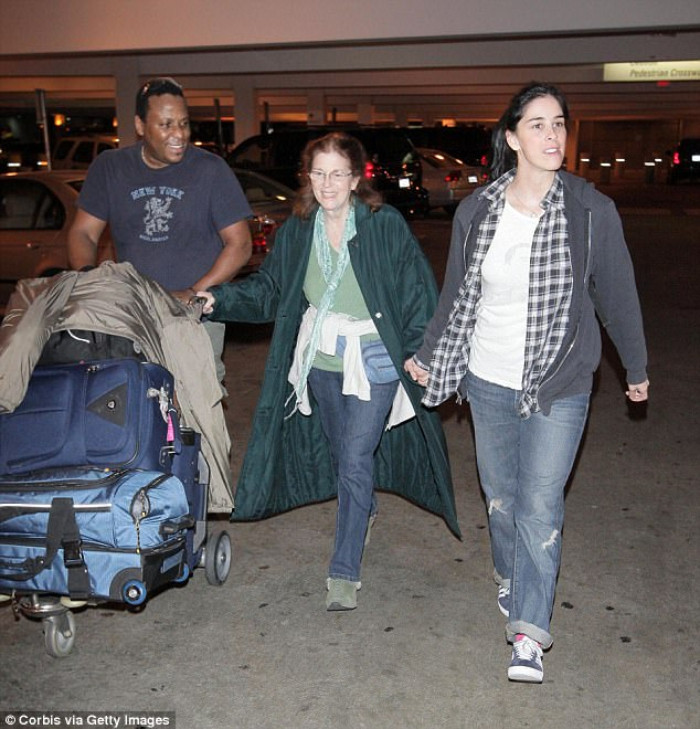 Fond memories: Sarah, her mother and a friend were snapped at LAX in October 2008