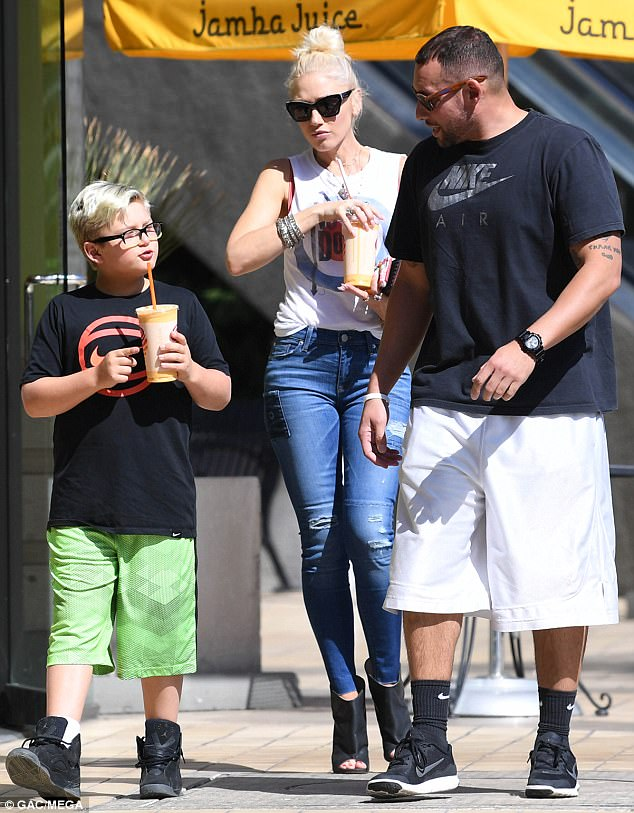 Hanging with mom! Joining the star for her outings were her children. Pictured is son Zuma Nesta Rock Rossdale, nine
