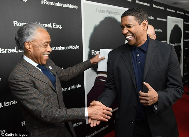 Mutual admiration: The two-time Oscar winner welcomed special guest the Rev. Al Sharpton to the screening and the two greeted each other warmly on the red carpet