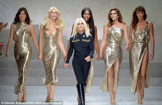 Golden girls:Having celebrated her 50th in February 2016, she is the eldest of golden girls Claudia Schiffer, 47, Naomi Campbell, 47, Helen Christensen, 48, Carla Bruni, 49, who all stormed the catwalk in a celebration of the original supermodels at Versace