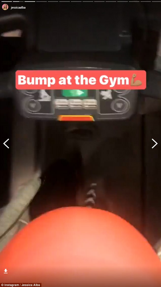 'Bump at the gym': She wrote in the frame of the photo of herself hitting the treadmill, posted to her Instagram stories