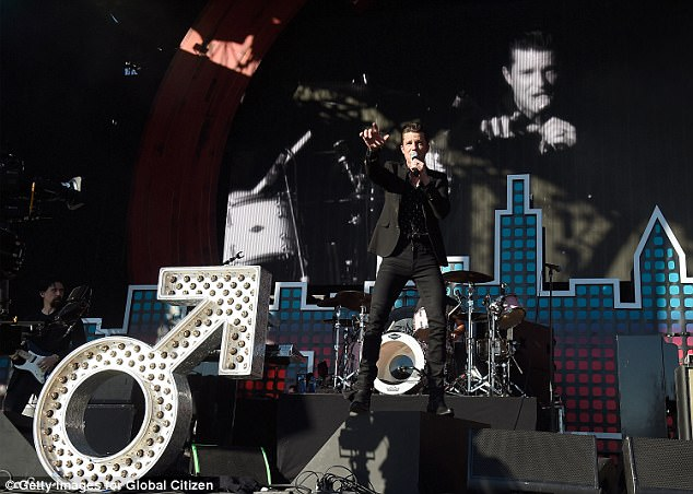 Brandon in black: Among the music acts there - which included Stevie Wonder and The Chainsmokers - were Brandon Flowers of The Killers, who was photographed onstage