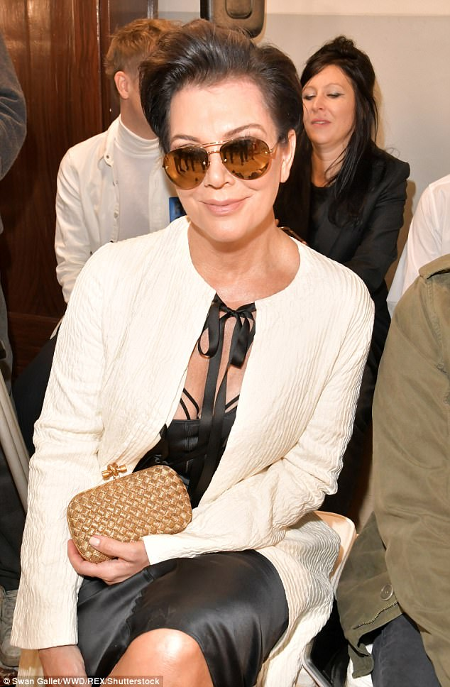 Proud mother: She sat front row at the show, during which her daughter Kendall Jenner walked
