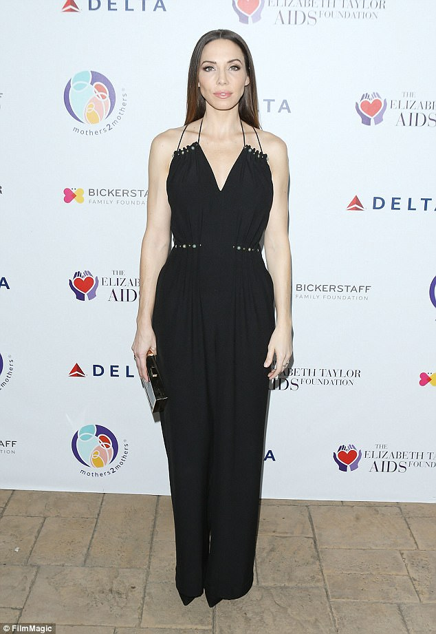 Comedienne and actress: Whitney Cummings, 35, showed up in a sleeveless black jumpsuit cinched at the waist and with a v-neckline