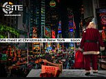 Warning:The propaganda poster shows Santa Claus looking out over a crowd of shoppers with the words; 'we meet at Christmas in New York... soon'.
