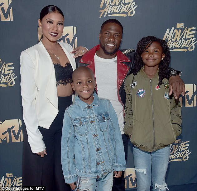 Hart's wife Eniko Parrish (left with him and his children last year) is pregnant