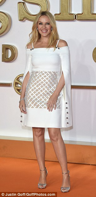 White hot: Also attending the premiere was Kylie Minogue, who dazzled as she returned to the spotlight for the first time in five months