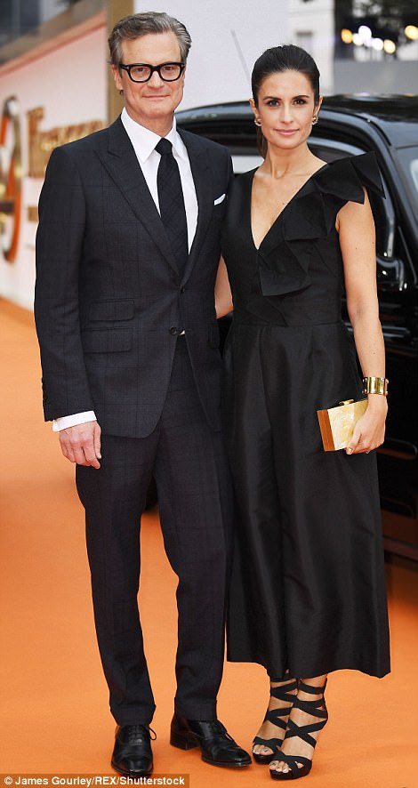 Power couple:Meanwhile, Colin Firth, 57, looked every inch the A-lister as he arrived at the premiere with his real-life leading lady, stunning wife Livia, by his side