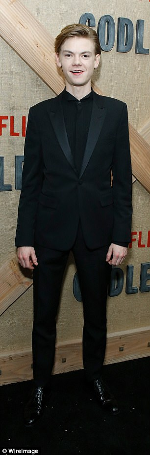 Dapper: Jack O'Connell (L) and GoT star ThomasBrodie-Sangster cut dapper figures at the event
