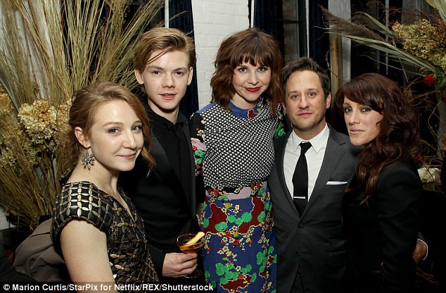 Hanging out: Stars Kayli Carter, Thomas Brodie-Sangster, Audrey Moore and Christopher Fitzgerald chatted away at the bash