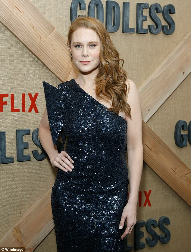 Beuaty: Flame-haired beauty Christiane Seidel - who plays Martha in the series - dazzled in shimmering sequin look