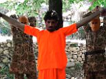 First, he was chained to two trees with his arms stretched out as he confessed to his crimes