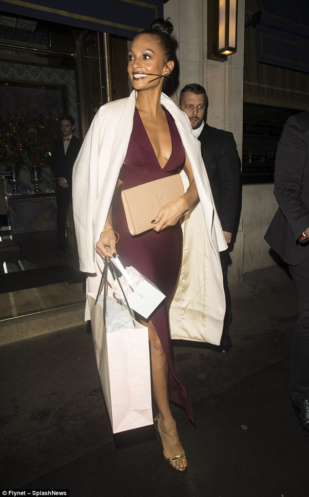 Starting early: Alesha flashed her signature beaming smile as she exited the early festive bash