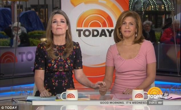Lauer's Today co-hosts Savannah Guthrie and Hoda Kotb soldiered through their broadcast on Wednesday after learning of the news moments before going on air
