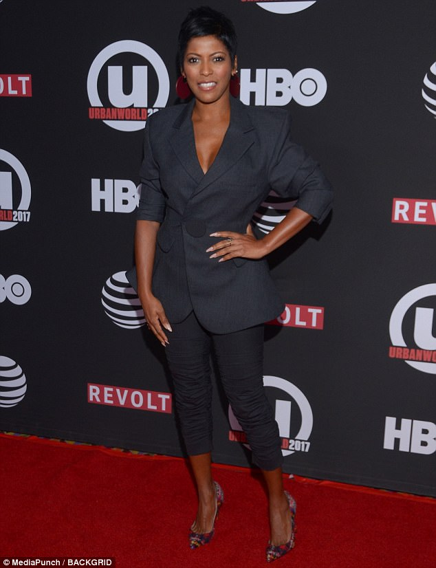 Boy's club! The beautiful Tamron Hall took after her well suited co-stars, cutting a chic figure in a menswear inspired look with colorful heels