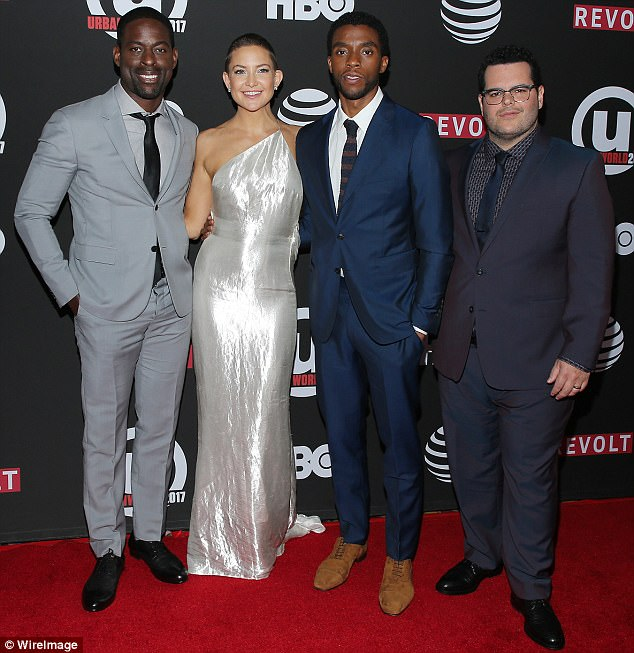 Supreme! Chadwick Bozeman (center right) plays title character Thurgood Marshall in this more-than-timely biopic about the first African American Supreme Court Justice. Sterling K Brown (far left), Kate Hudson (center left), and Josh Gad (far right) also act in the film