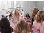 The footage shows Devon Windsor (facing the camera) dancing with other models as the lyrics to Bodak Yellow are sung. It is not clear if the women pictured sang along