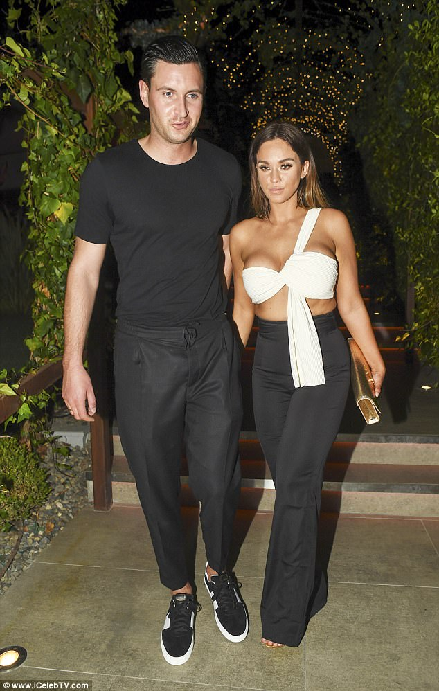 Loved-up: Vicky Pattison and John Noble looked seriously smitten when they headed out for dinner in Marbella on Monday evening