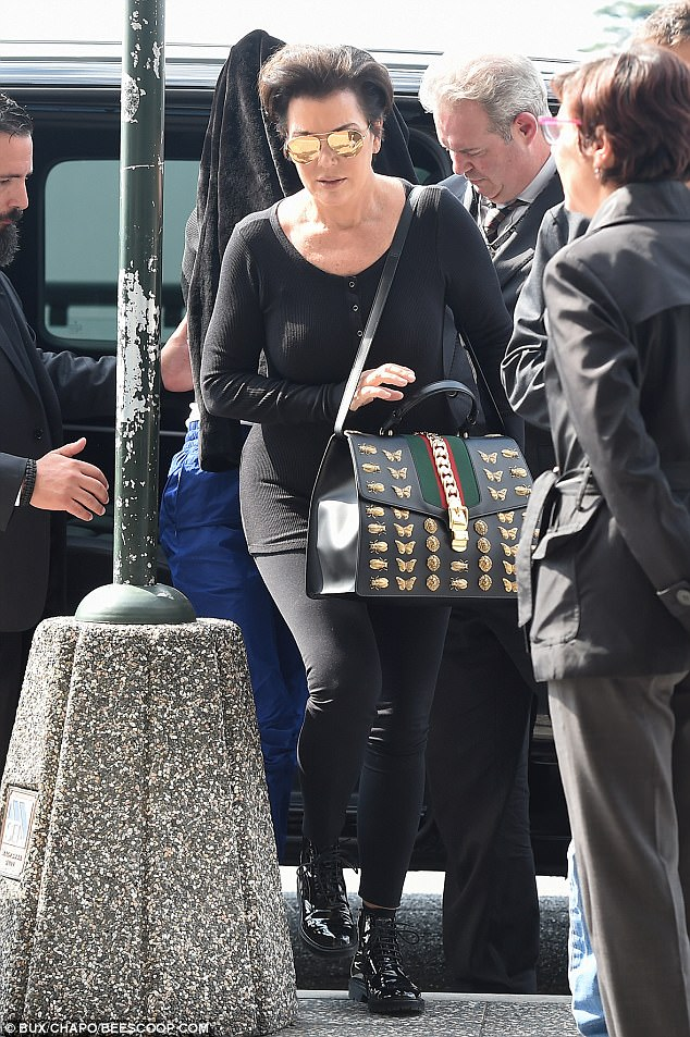 Looking good: Kris belied her 61 years by displaying her fabulous figure in her ensemble