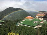 A rainbow appeared near Chinese Culture University in Taiwan for almost nine hours yesterday