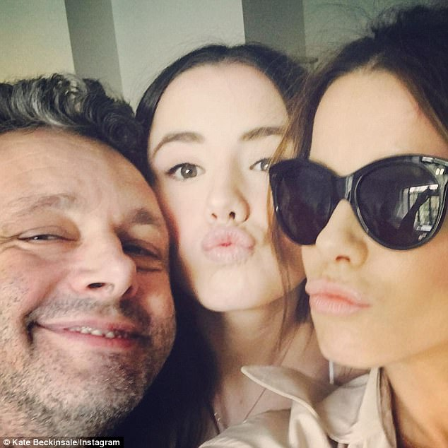 Family time: Kate had spent the weekend in the Big Apple with daughter Lily, 18, and her ex partner and Lily's father actor Michael Sheen. She shared this funny snap of them to Instagram