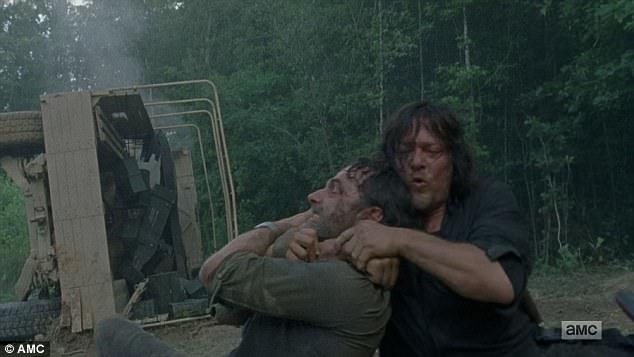 Choke hold: Rick was put in a choke hold by Daryl as they fought over plans