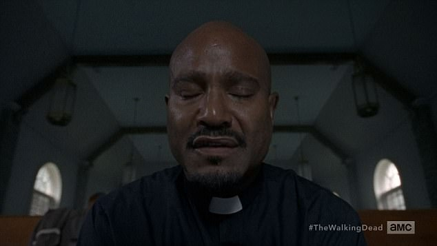 Prayer time: The episode opened with Father Gabriel praying in a flashback at his church