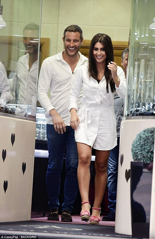 Not long now:The former TOWIE star, 37, and his model fiancée, 25, beamed as they left the city's exclusive diamond district in matching white ensembles