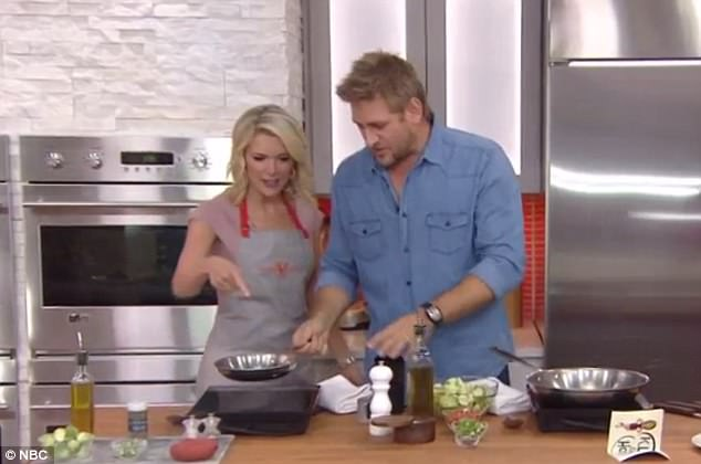 Secret garden:Her cooking segment ran into a bit of a snag when she revealed she did not know what a shallot is, asking Curtis Stone (above) to describe the root vegetable