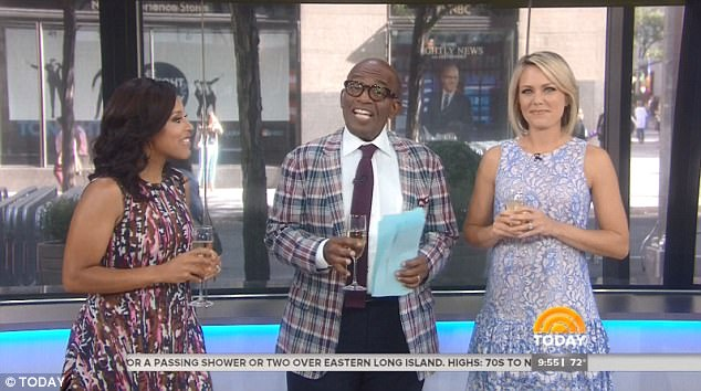 Fond farewell to some friends: It was an emotional day for Roker,Sheinelle Jones and Dylan Dreyer (above) who said goodbye to Today's Take