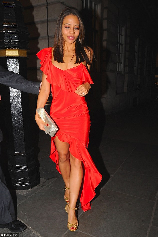 Lady in red: Emma McQuiston, 31, Viscountess Weymouth, leaving Loulou's on Sunday night