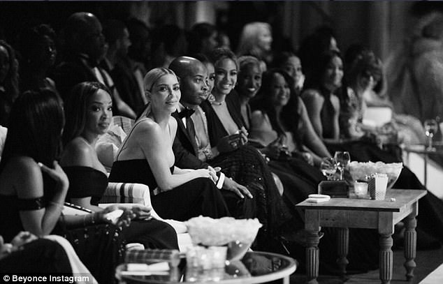 Freedom: She was also seen sitting near Kim Kardashian during the party