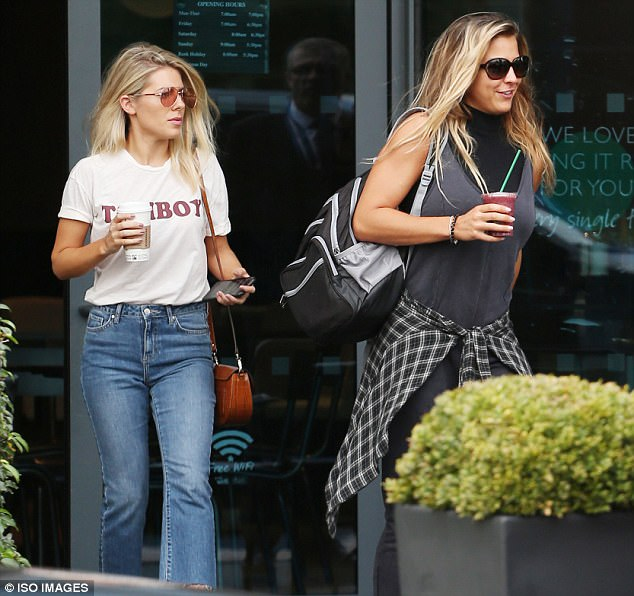 Caffeine fix: Mollie toted a coffee while Gemma sipped on a fruit smoothie