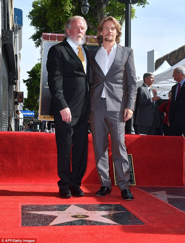 Father and son: The veteran star was joined by his son Brawley, 31, who has also worked occasionally as an actor