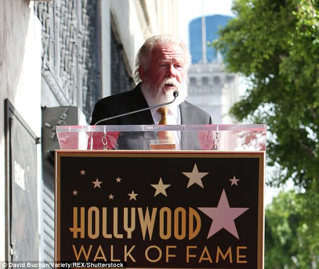 Addressed fans: In a short speech at the walk of fame event, Nolte told the crowd gathered to see him that because of the stars, Hollywood Boulevard is 'unlike any other street in LA'