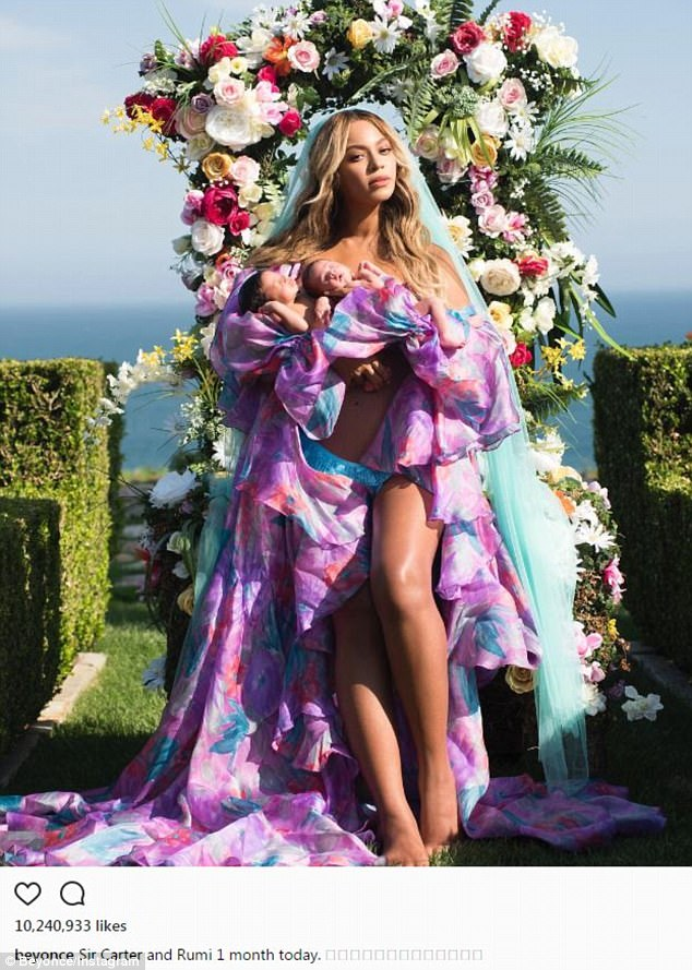 So sweet: Beyonce announced the birth on Instagram when her twins turned a month old