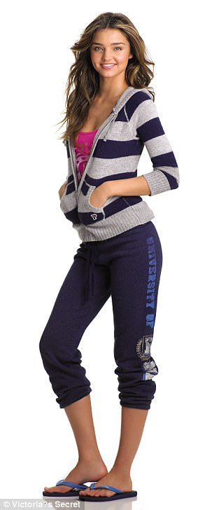 Early 2000s: Victoria's Secret has released archive photos of some of its favorite stars modeling VS Pink sweats, including Miranda Kerr (pictured)