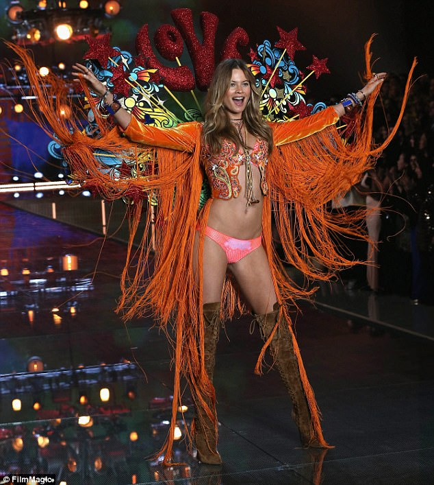 Catwalker: Behati, who is currently a Victoria's Secret Angel, is pictured at the brand's annual fashion show in 2015