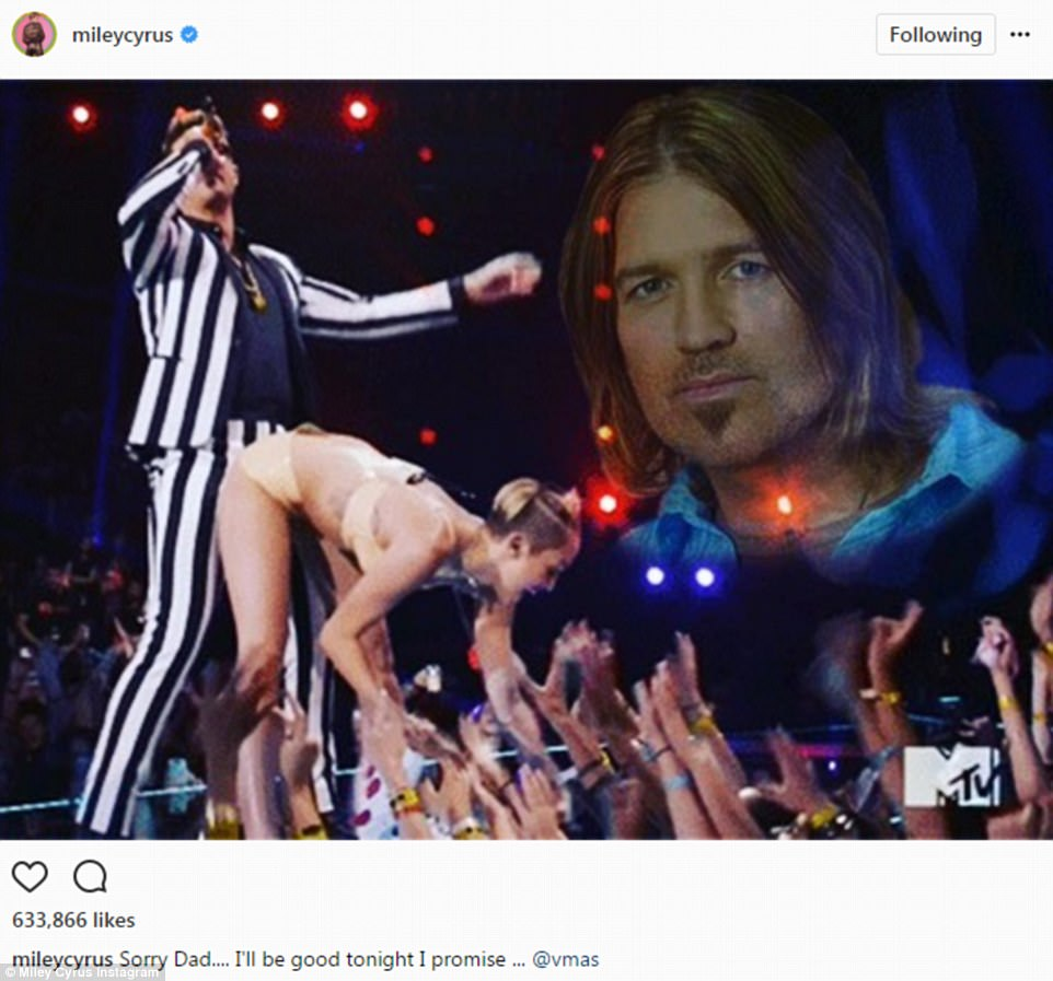 Cute:Miley Cyrus shared several images to social media. One saw her twerking on Robin Thicke from years past. Cyrus added a photo of her father in the corner and promised her in caption that she would be 'good'