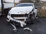 Stacey Flounders wrecked car after her crash on the way to visiting Adam Johnson in prison