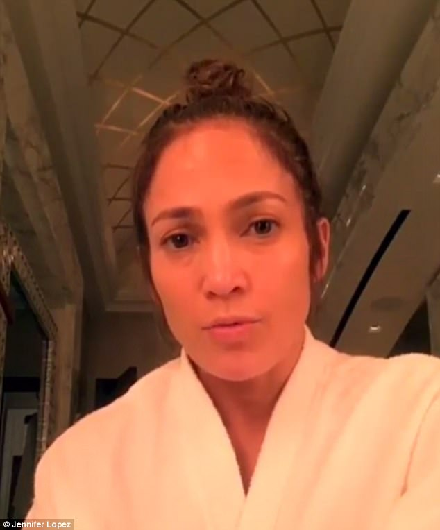 'Not my most glamorous look right now': Clad in a robe, Jennifer took to Instagram on Thursday to address fans