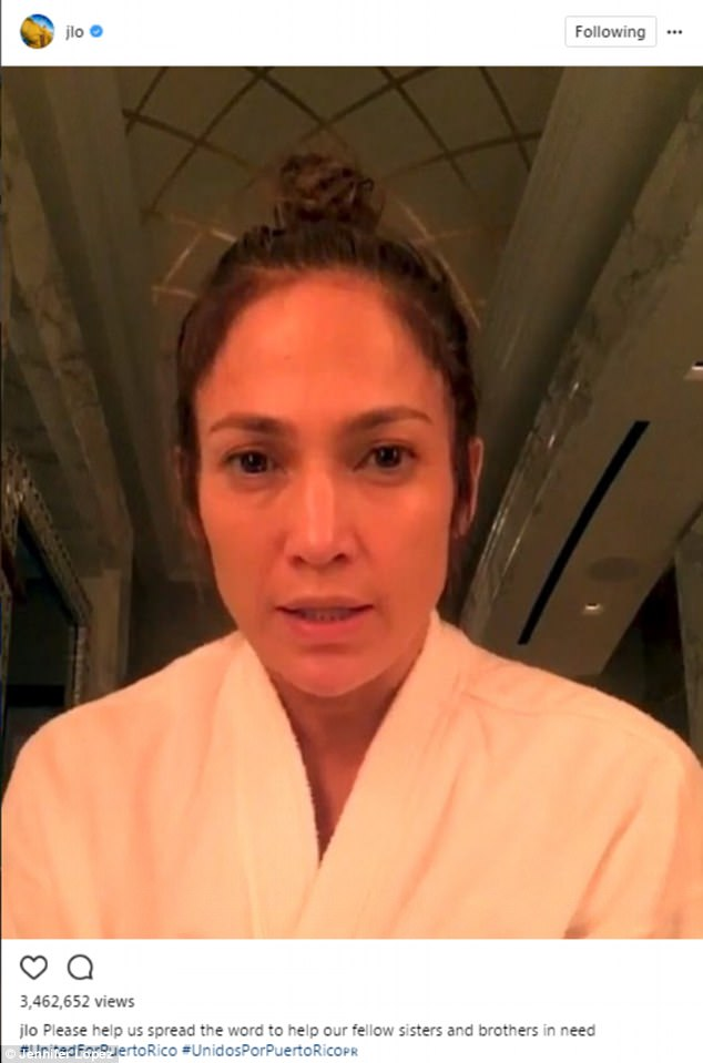 'Me and my cousins still haven't been able to hear from our families over there': Jennifer Lopez has urged fans to help in any way they can to the people of Puerto Rico, whose homes have been devastated by Hurricane Irma and Maria