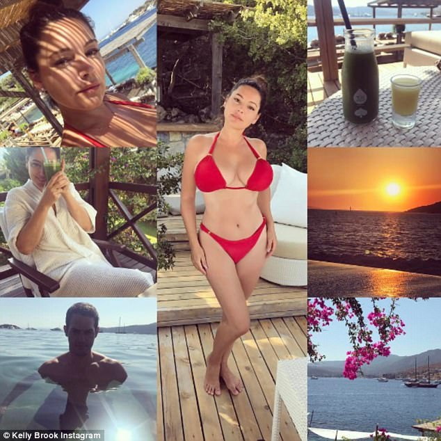Accusations: Kelly Brook, 37, has come under scrutiny again - after posting a sultry photo of herself looking svelte in a red bikini in Bodrum, Turkey on Monday, crediting her whittled waist to a juice detox