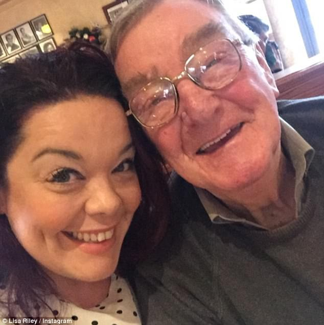 Heartbreak: Lisa Riley (left) lost her 90-year-old grandfather, Sam (right), on Saturday