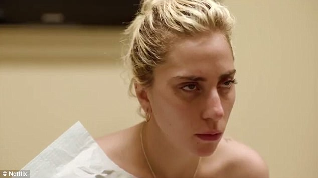 As seen on screen: In one distressing scene a tearful Gaga voices one of her worst fears - not being able to have the family she fiercely desires