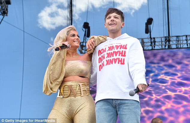 Happy: Louis Tomlinson stormed the stage with Bebe Rexha atDaytime Village Presented by Capital One at the 2017 HeartRadio Music Festival at the Las Vegas Village