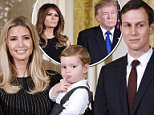 Family time: A very stylish Ivanka Trump joined the rest of her family including her husband (above right) and children at the White House to celebrate an 'especially special' Hanukkah one day after the president declared Jerusalem Israel's capital and setting off criticism and clashes