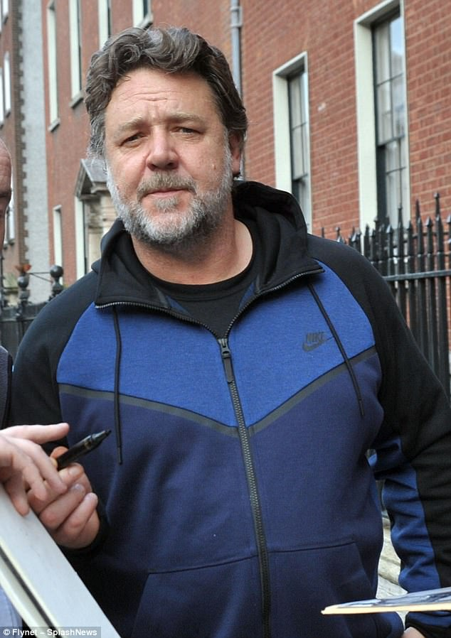 Casual:Russell Crowe cut a casual figure  ahead of his appearance on The Late Late Show in Dublin on Friday