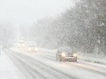 Treacherous conditions on the road leading into Hastings in East Sussex this morning, with heavy snowfall still continuing