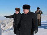 Kim Jong-un on Mount Pektu, on North Korea's border with China, which the regime has said is 'sacred', on account of it being the birthplace of the country's first dictator